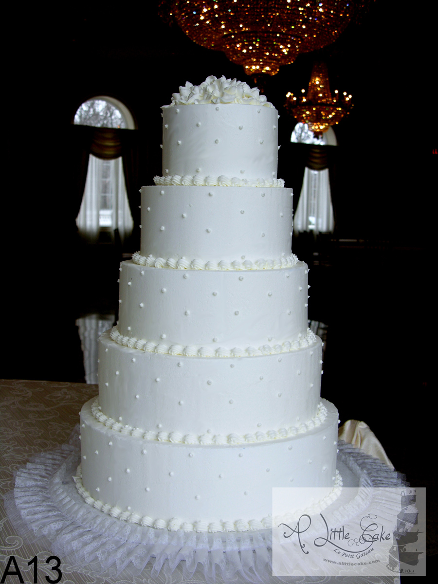 A13 Simple Layered Buttercream Wedding Cake With Beads