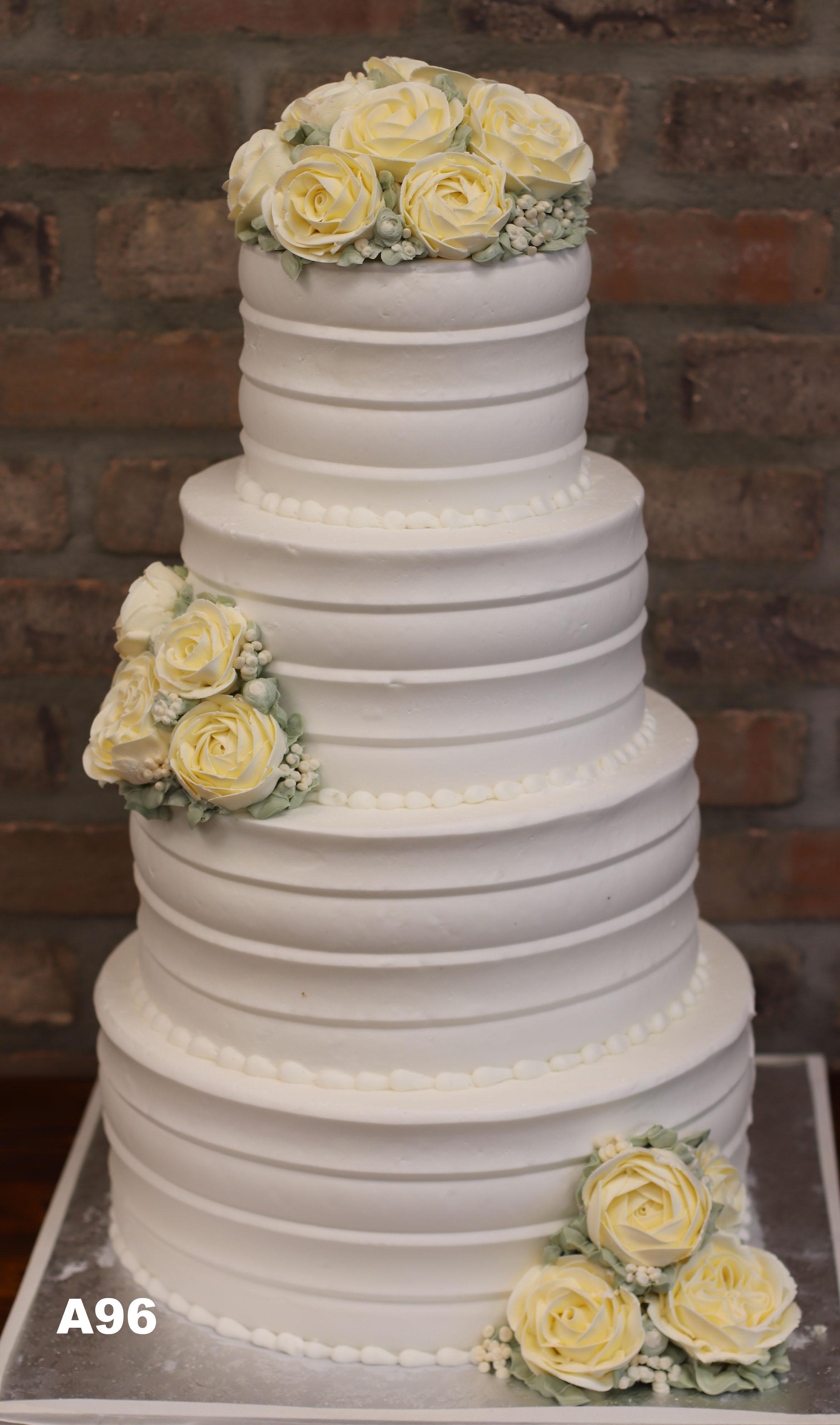 A96  Yellow Rose White Buttercream Cake
