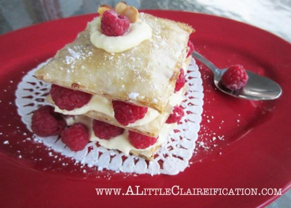 Honey Almond Fillo Tart with Raspberries & Custard at ALittleClaireification.com #food #tart #recipe #phyllo