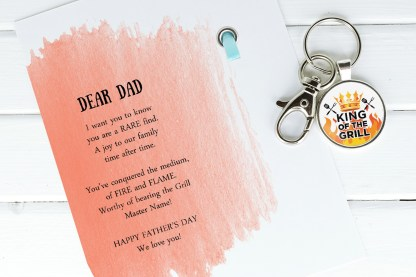 king of the grill dad keychain