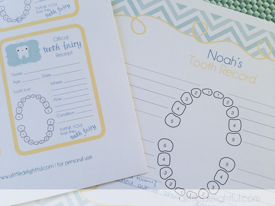 Printable Tooth Fairy Receipts And Childhood Tooth Record A