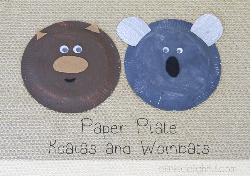 All you need is paper plates. paint brown and grey. googly eyes. brown felt/paper for wombat nose and ears. black felt/paper for koala nose & craft Australia Day paper plate crafts - a little delightful