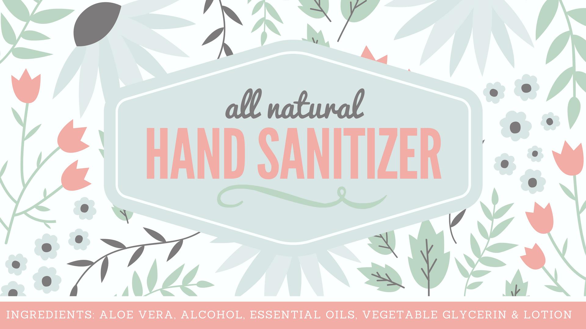 Natural Hand Sanitizer Label