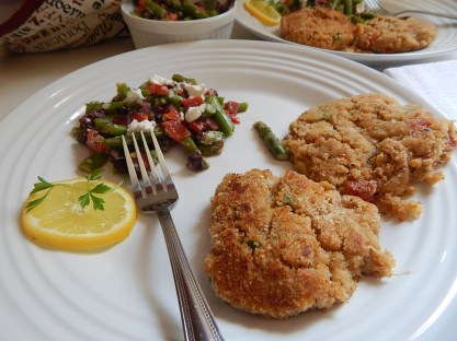 Crab Cakes and Marinated Asparagus Salad