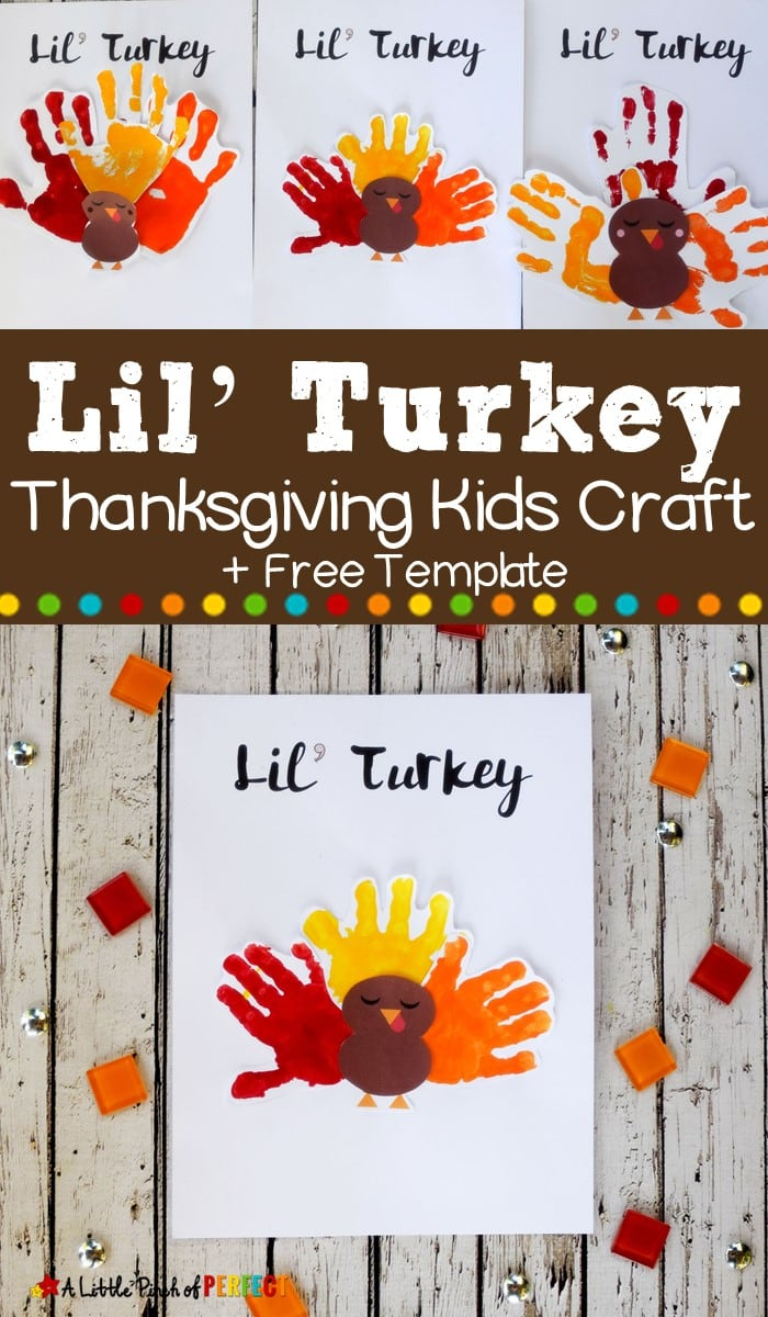 This Lil' Turkey Handprint Craft includes a Free Template and is perfect for making Thanksgiving memories with kids. (#preschool #toddleractivities #Thanksgiving #craft #kidsactivity)