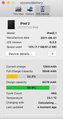 iPad電池健康度。