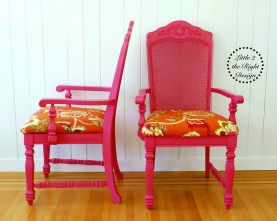 Pink cane chairs
