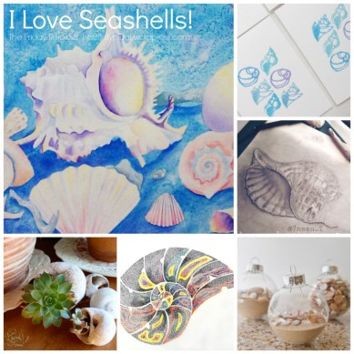 I Love Seashells TFR. Collage of watercolour, graphic, diy and crafts