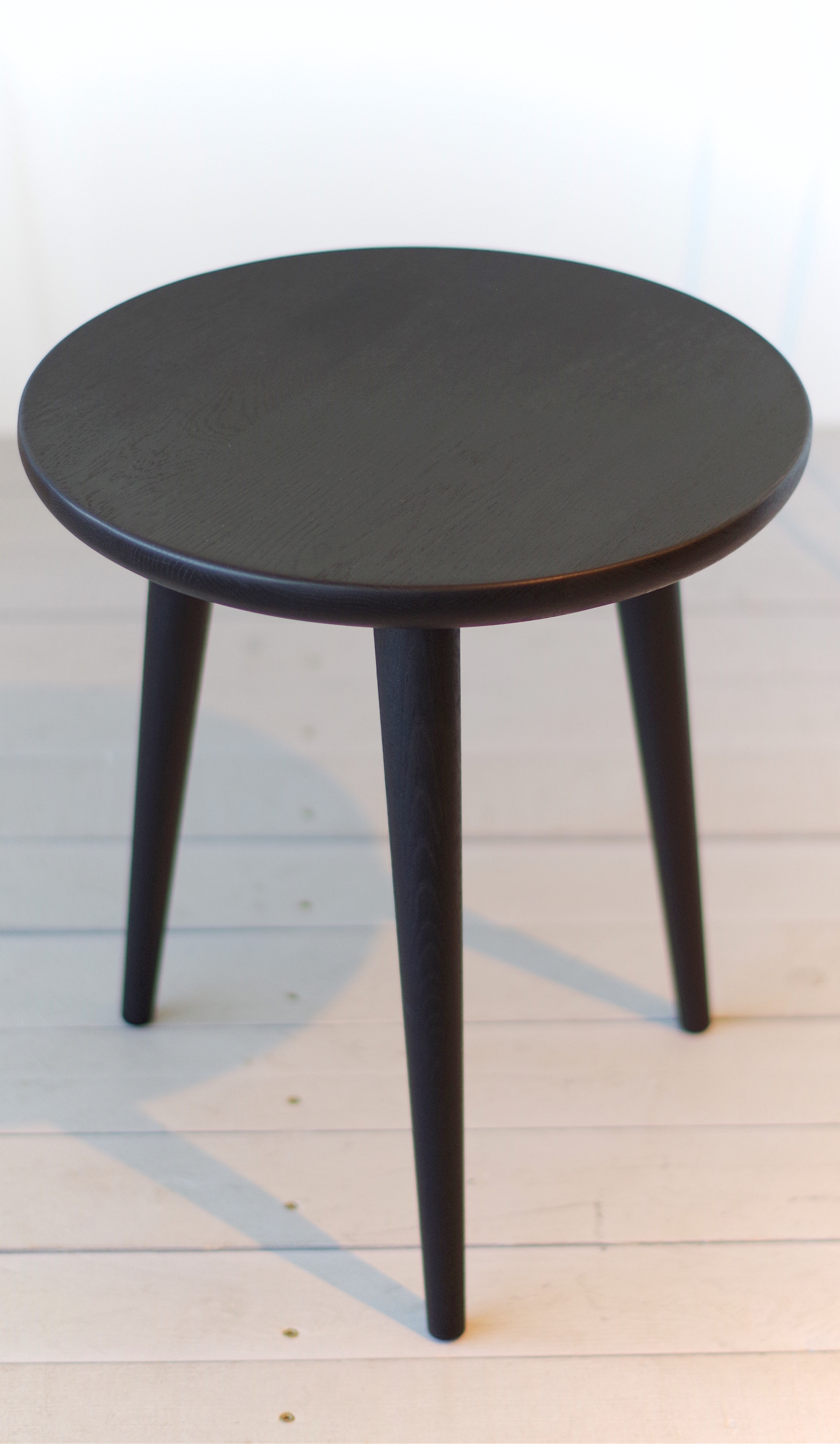 black small solid oak side table stool 02