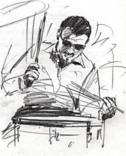 pencil sketch of drummer