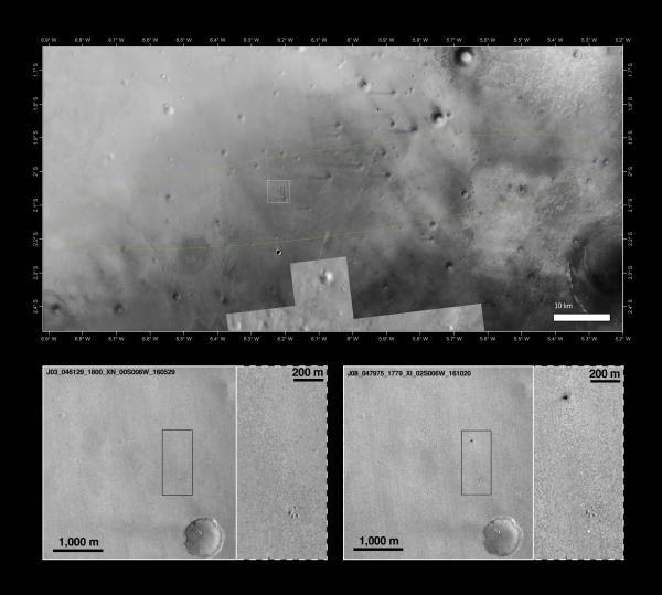 In alto, il sito di atterraggio di Shiaparelli all'interno dell'ellisse prevista; sotto, le immagini prima e dopo lo schianto riprese dalla Context Camera (CTX) a bordo della sonda Mars Reconnaissance Orbiter (MRO) della NASA il 29 maggio 2016 (a sinistra) e il 20 ottobre 2016 (a destra).