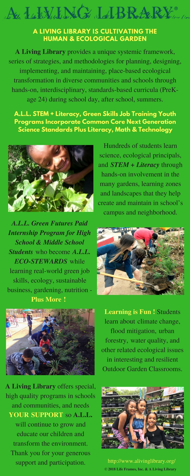 A.L.L. STEM + Literacy, Green Skills Job Training Youth Programs Incorporate Common Core Next Generation Science Standards Plus Literacy & Math