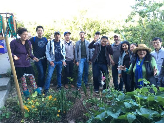 Bonnie Ora Sherk with volunteers from Salesforce in OMI/ Excelsior Living Library & Think Park