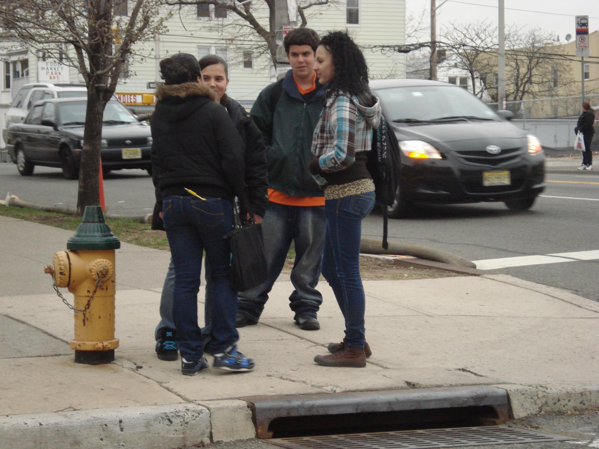 Kids hanging out near Barringer High School...