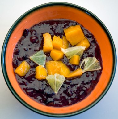 Black sticky rice, mango and lime