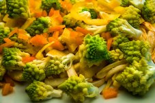 Parsnips , romanesco broccoli and raw sweet peppers