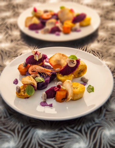 Prawns, plantain, celeriac, beets and carrots.