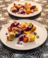 Plantain, red cabbage, celeriac, carrots and shrimp