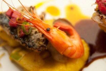 Prawn, mackerel, turban squash, plantain and chilli sauce.