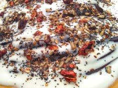 Aubergine and yogurt with herbs and spices