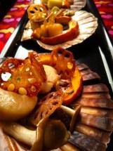 Scallops, mushrooms, pumpkin and lotus root