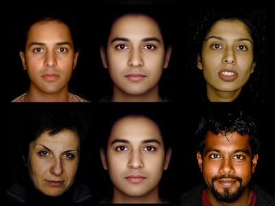 Central morphed face flanked by participant's self-portraits