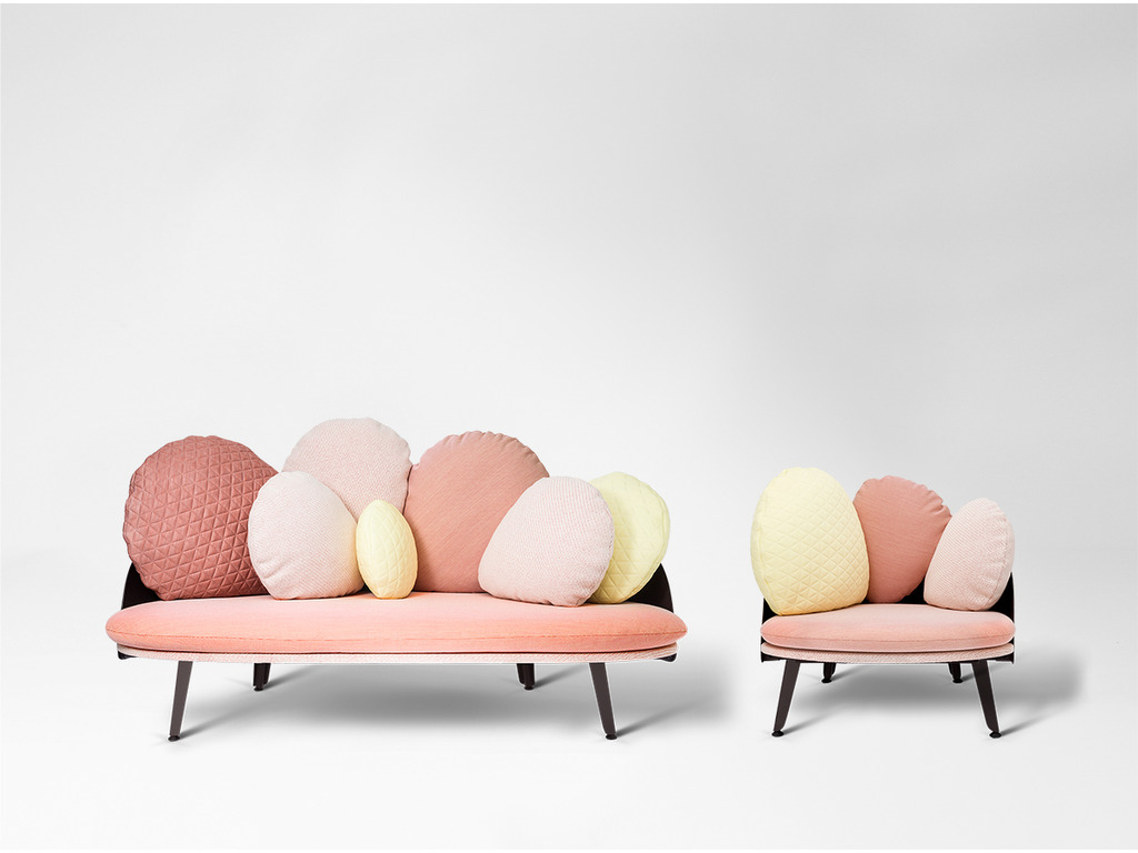 Nubilo sofa and armchair by Constance Guisset | Millennial pink ideas for your perfect home