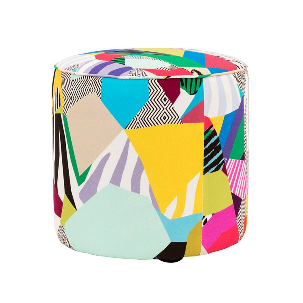 Tropical landscape pouf by Kitty McCally - Tropical upholstery - Transform your home into a tropical paradise | Aliz's Wonderland