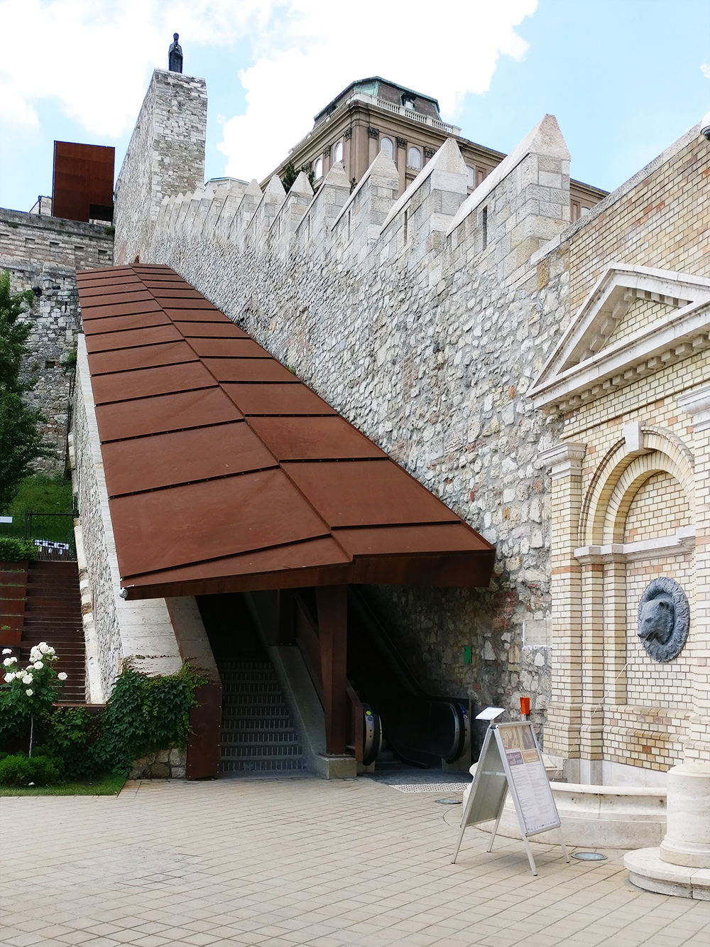 Escalator and stairs in Castle Garden Bazaar to Buda Castle - Top 5 viewpoints in Budapest Hungary, recommended by a local | Aliz's Wonderland