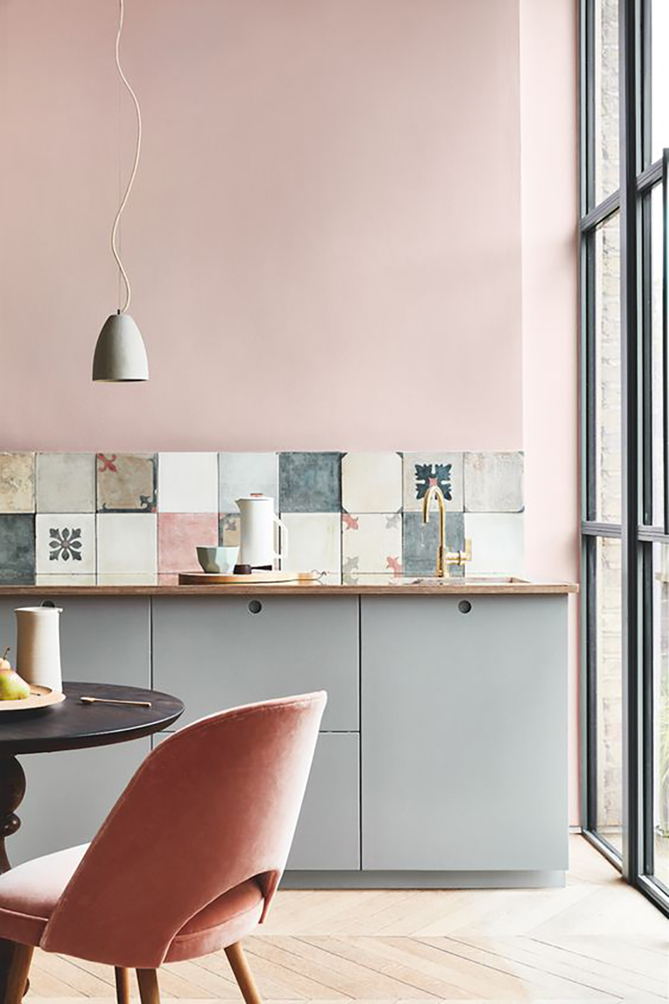 Elegant pink kitchen with cement tiles - Warm up your home with pink wall colour | Aliz's Wonderland