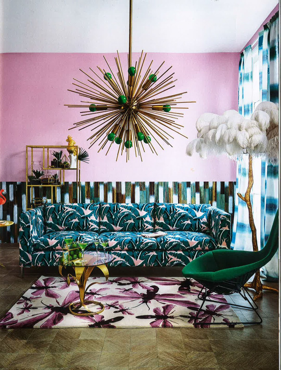 Pink living room with turquoise - Warm up your home with pink wall colour | Aliz's Wonderland