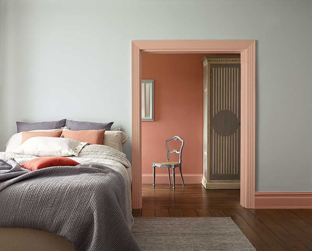 Sanderson neutral pink bedroom with grey shade - Warm up your home with pink wall colour | Aliz's Wonderland