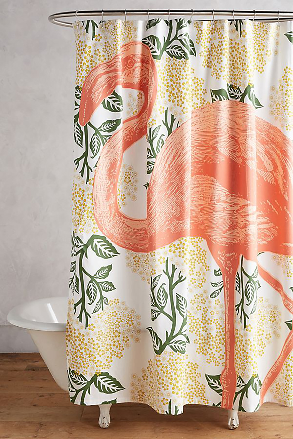 Flamingo patterned shower curtain by Anthropologie - Decorate your home with flamingos | Aliz's Wonderland