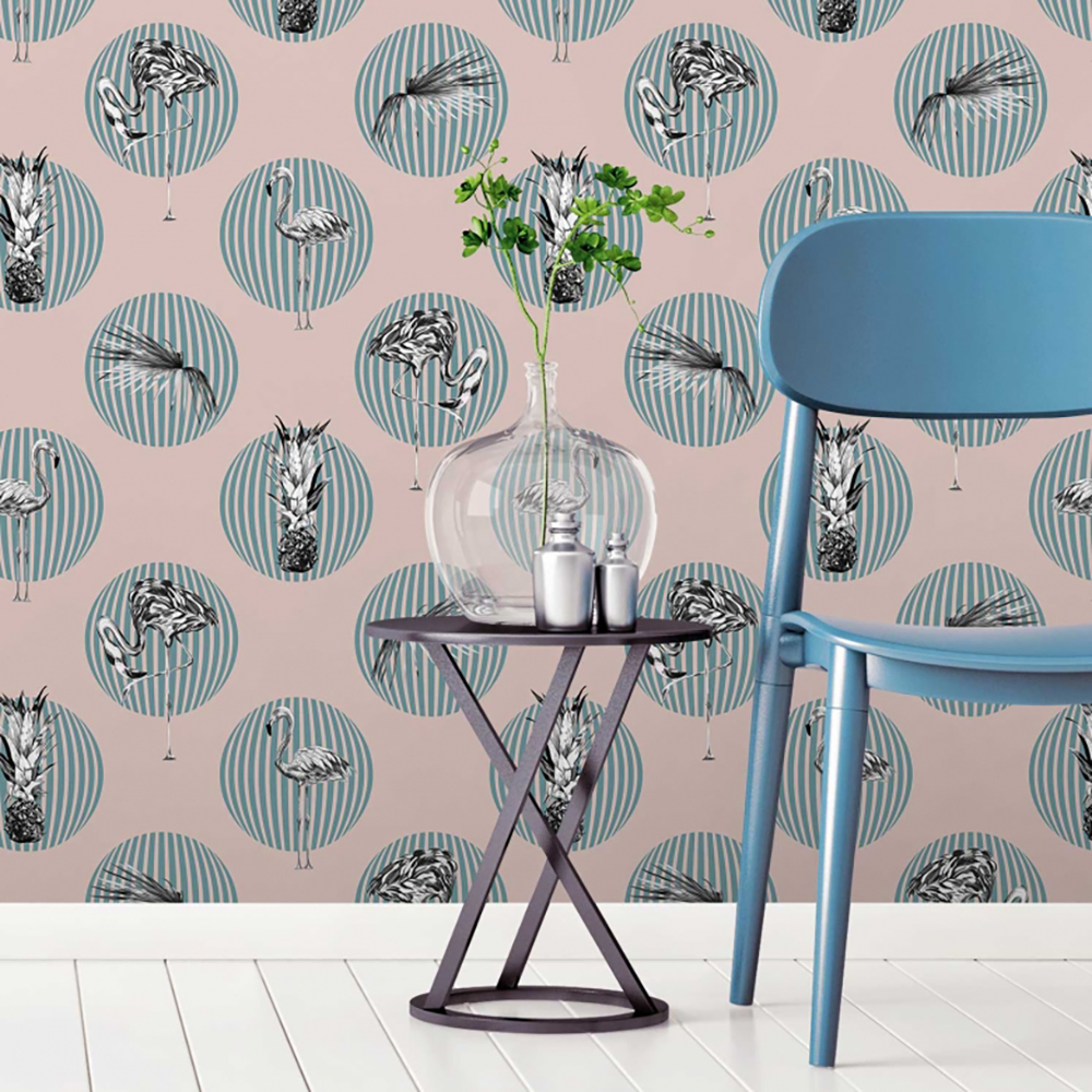 Funky flamingo tropical wallpaper by Wallpaper + Folk - Decorate your home with flamingos | Aliz's Wonderland