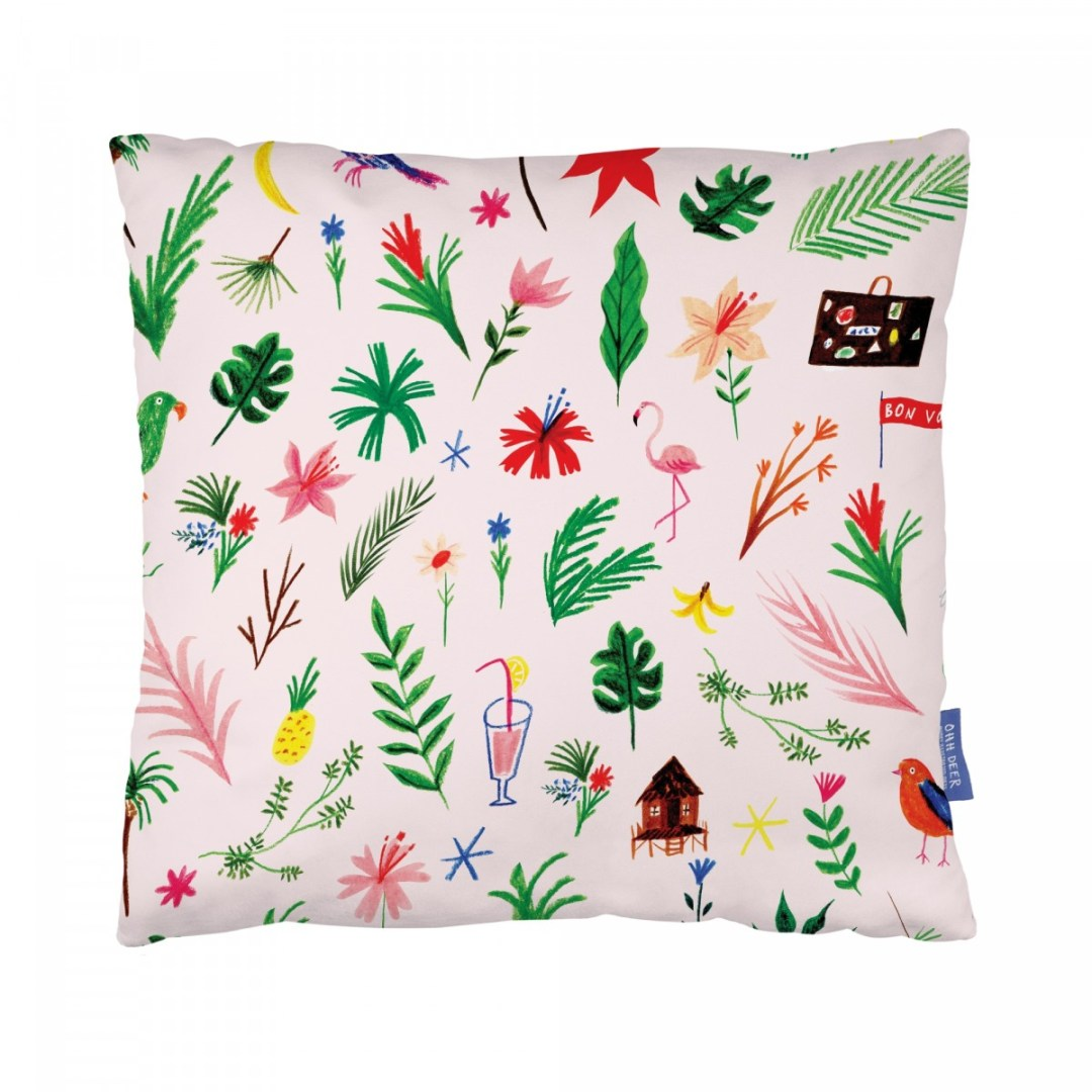 Tropical plants cushion by Ohh Deer - Decorate your home with flamingos | Aliz's Wonderland