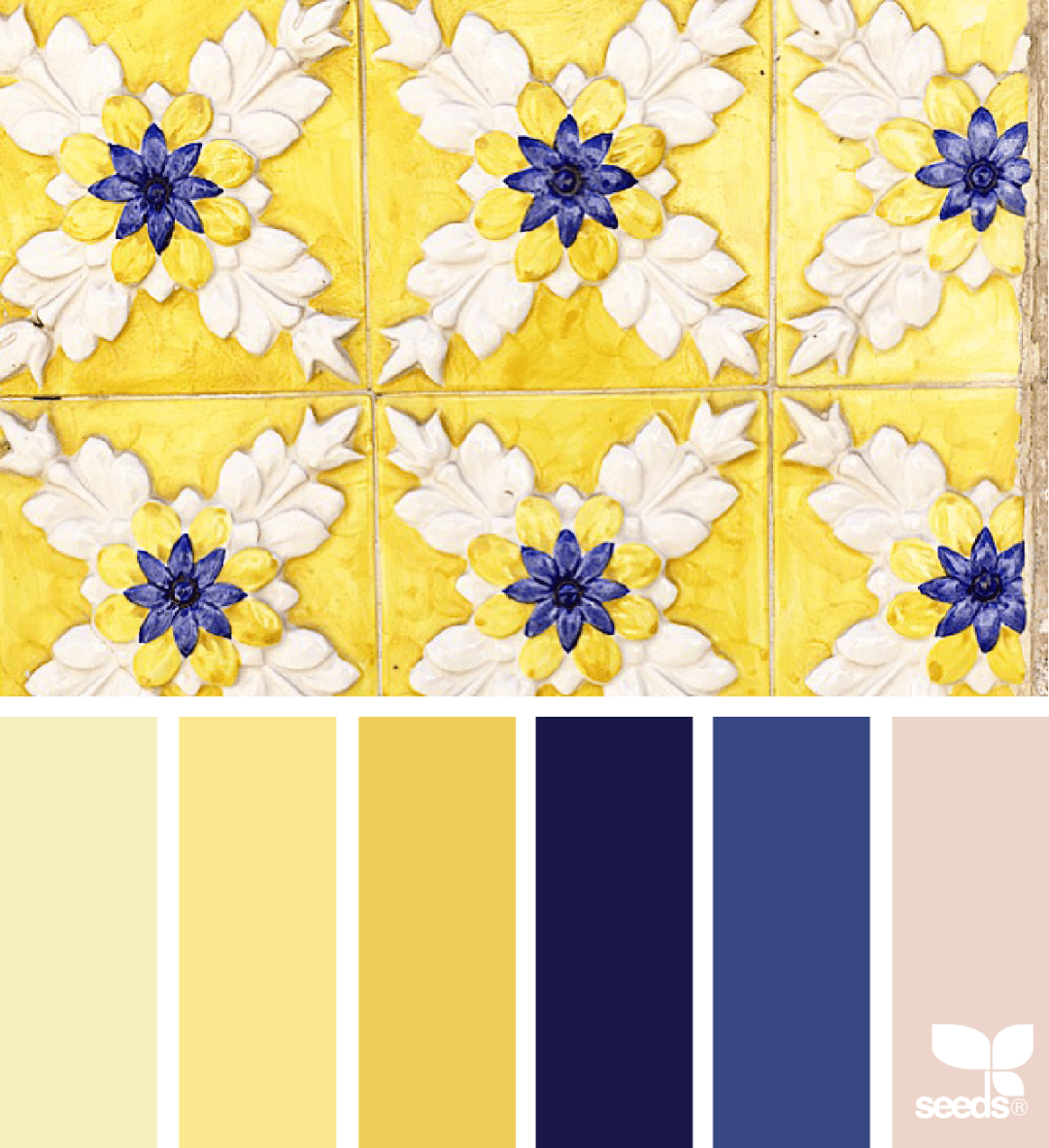 Design seed's Color Tiled for blue and yellow colour combination - 35 ideas for blue wall colour in home decoration | Aliz's Wonderland
