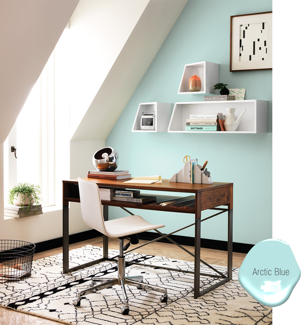 Office corner with Arctic Blue wall - 35 ideas for blue wall colour in home decoration   Aliz's Wonderland