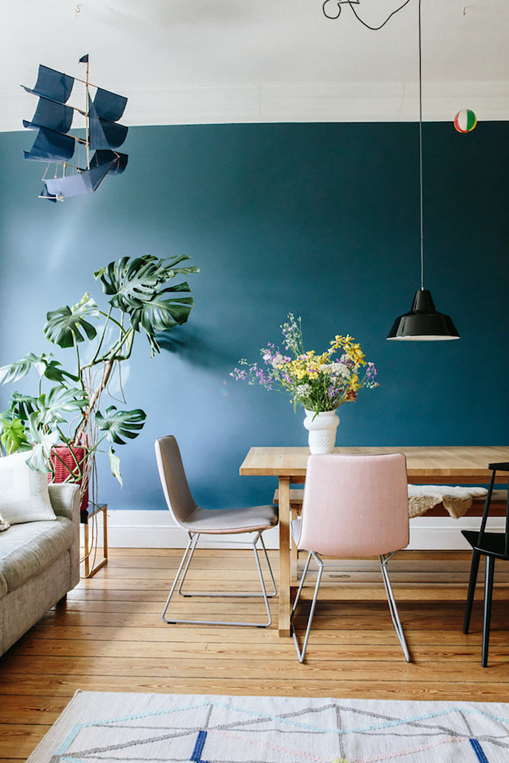 Mid Blue Shade In The Living Room Is Very Elegant With The Parquet,  Colourful Accessories