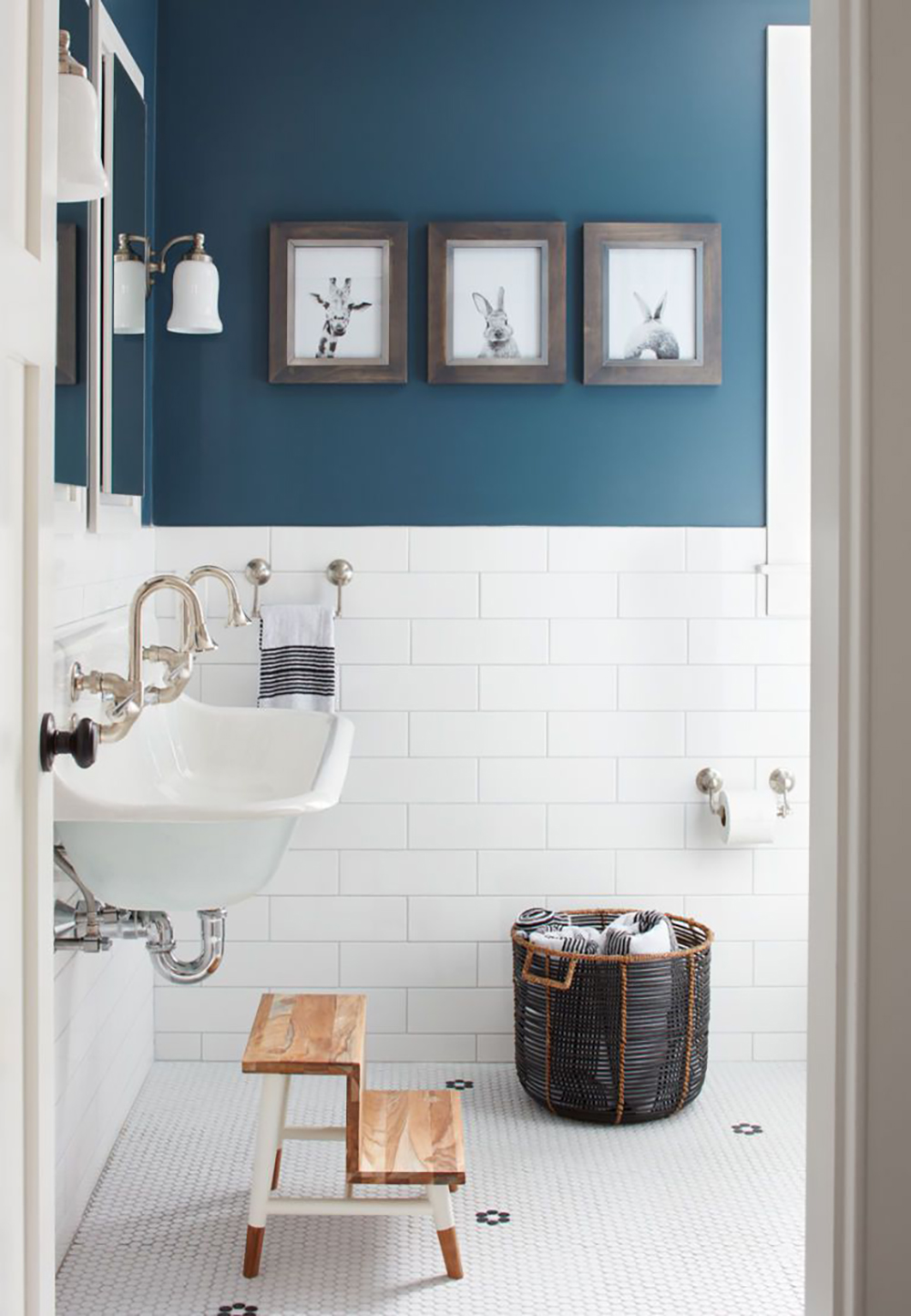 Half blue, half white bathroom with the cute animal photos - 35 ideas for blue wall colour in home decoration | Aliz's Wonderland