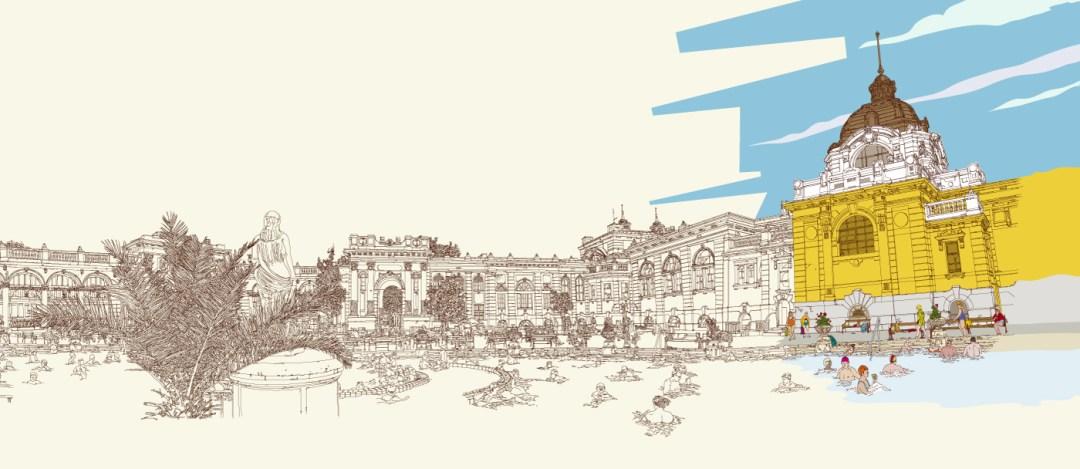 Széchényi Bath illustrations by László Nagy - Budapest inspired illustrations, paintings and prints by Hungarian artists | Aliz's Wonderland #Budapest #souvenir #homedecor #illustration