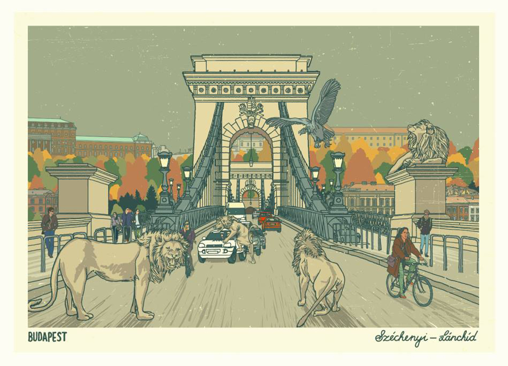 Chain Bridge by Richárd Orosz - Budapest inspired illustrations, paintings and prints by Hungarian artists | Aliz's Wonderland #Budapest #souvenir #homedecor #illustration