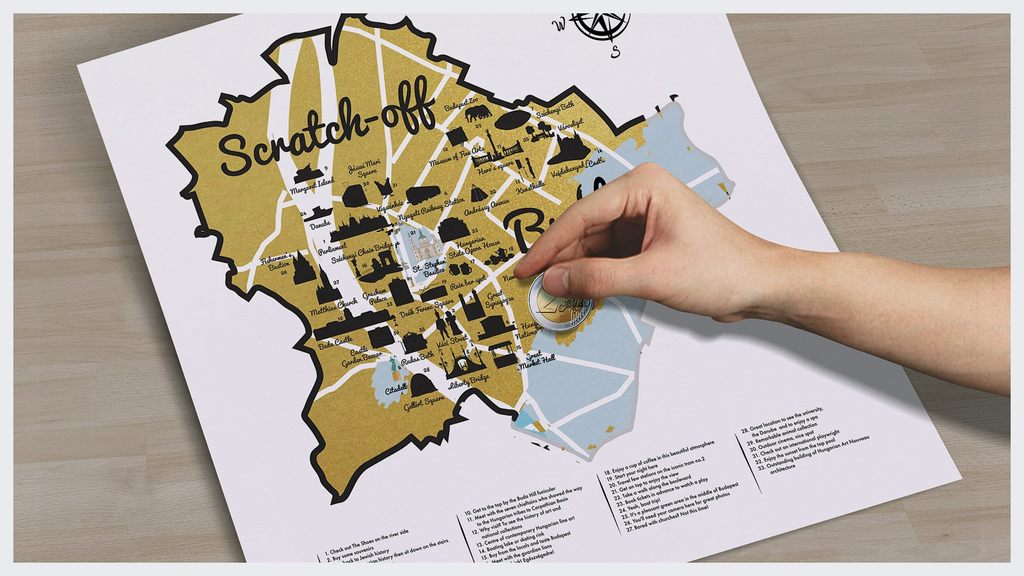 Budapest scratch-off map - Budapest inspired illustrations, paintings and prints by Hungarian artists   Aliz's Wonderland #Budapest #souvenir #homedecor #illustration