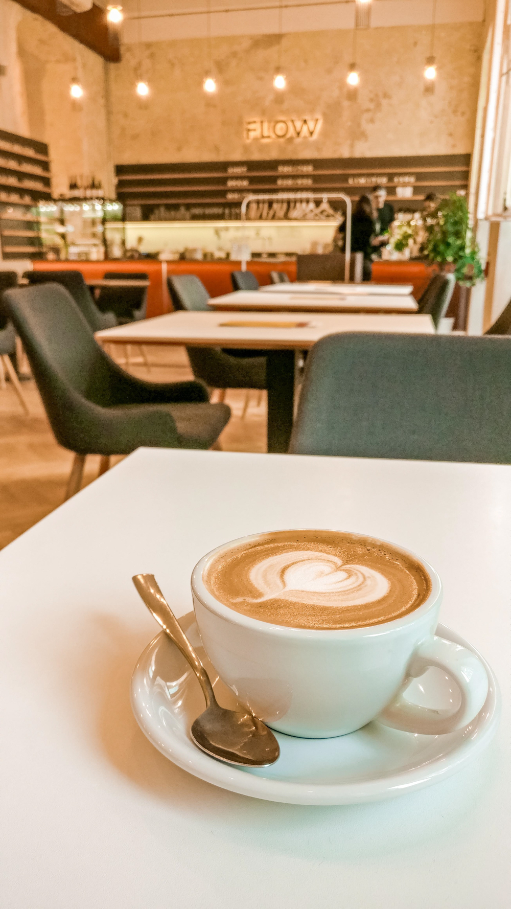 Flat white at Flow Specialty Coffee Bar & Bistro - 10 must-visit stylish specialty coffee shops in Budapest, Hungary   Aliz's Wonderland