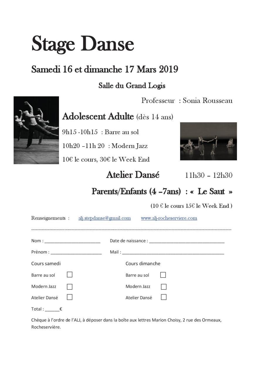 Stage de danse Mars 2019.