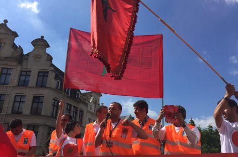 الجالية المغربية المقيمة ببلجيكا تنظم وقفة تاريخية ببروكسيل للتعبير عن تعبئتها للدفاع عن الوحدة الوطنية.
