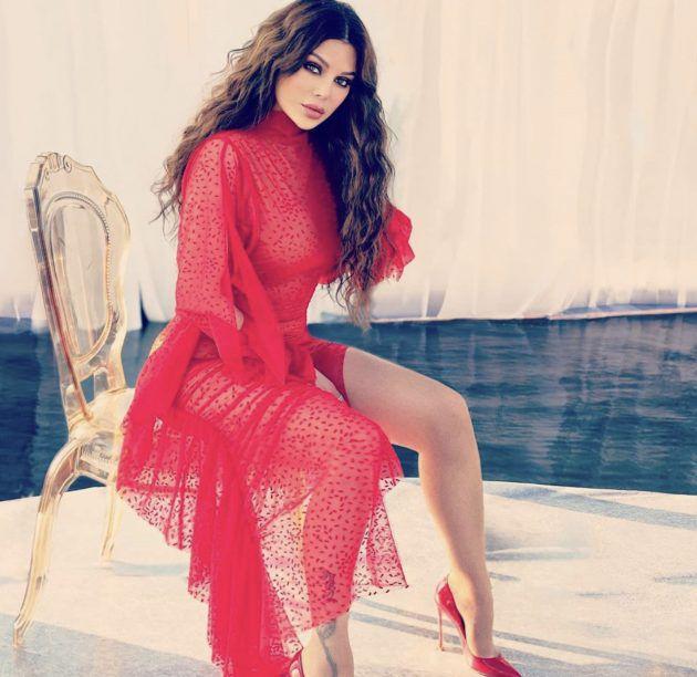 Haifa Wehbe in an open dress