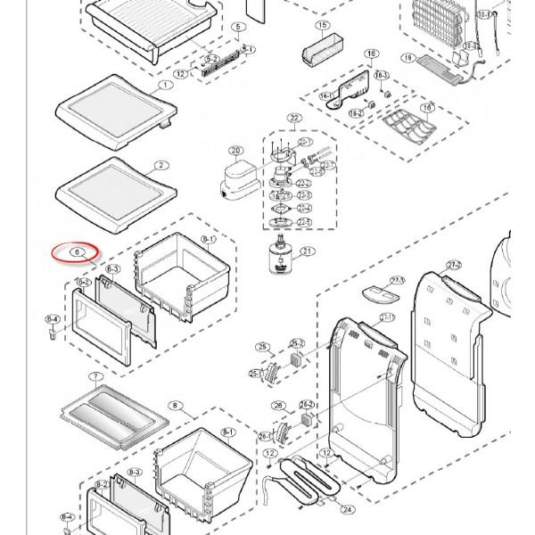 Samsung hűtőszekrény zöldségtároló doboz , felső