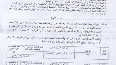 Photo of مؤسسة مياه الشرب في حماة تعلن عن اختبار لتعيين 322 عاملاً