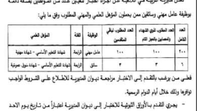 Photo of مديرية التربية في اللاذقية تعلن عن مسابقة لتعيين عدد من المواطنين