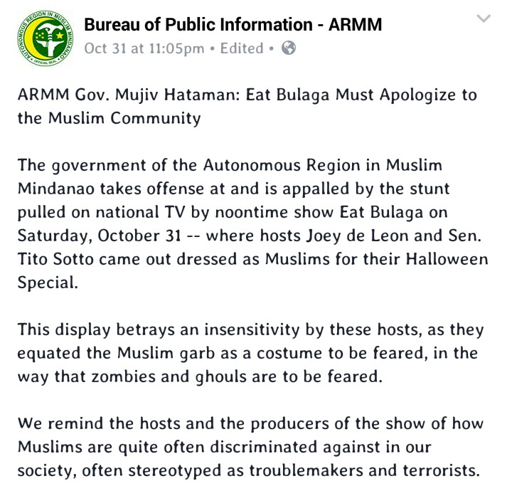 Photo from Facebook: Bureau of Public Information - ARMM